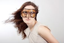 Girl With The Venetian Mask Stock Photos