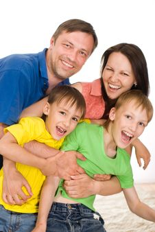 Happy Parents With  Children Stock Photography
