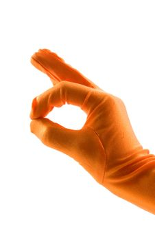 Free Hand In Orange Glove Is Making The Ok Sign Royalty Free Stock Image - 15182856