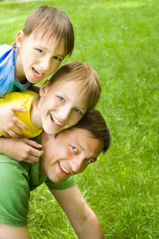 Free Father Resting With Boys Stock Photos - 15182893