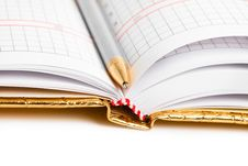 Notebook With Silver Pen Stock Photography