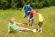 Free Happy Family Playing Soccer Royalty Free Stock Image - 15183556