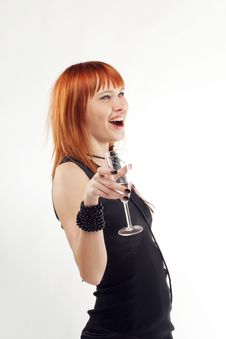 Free Beautiful Red-haired Girl Lifts A Toast, Stock Images - 15183814