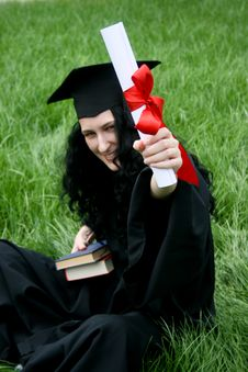Smiling Caucasian Student With Diploma Stock Image