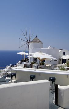 Santorini View With Windmills Royalty Free Stock Photos