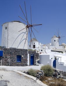 Free Windmills In Santorini Island Royalty Free Stock Photography - 15184307