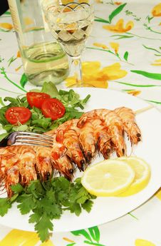 Free Grilled Shrimps Royalty Free Stock Image - 15184666
