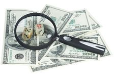 Free Money U.S. Dollars, Magnifying Glass And Lock Royalty Free Stock Photos - 15185378