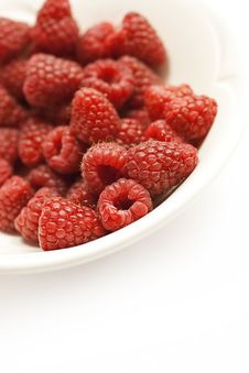 Free Raspberries In A Bowl, White Space Royalty Free Stock Photo - 15186465