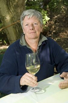 Senior Women With Wine Glass Stock Images