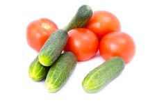 Cucumbers And Tomatoes Stock Photos
