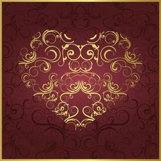 Free Stylized Gold Heart Royalty Free Stock Photos - 15187188