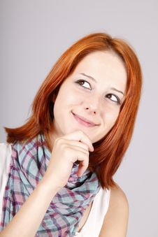 Free Portrait Of Beautiful Red-haired Girl. Stock Photo - 15187740