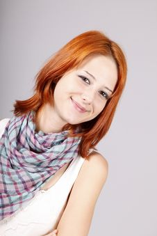 Free Portrait Of Beautiful Red-haired Girl. Stock Photography - 15187752