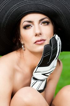 Free Woman With Goalkeeper Glove Royalty Free Stock Images - 15189469
