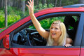 Free Beautiful Woman Driver In Red Shiny Car Outdoors Stock Photos - 15194323