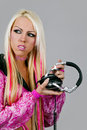 Free Blonde Dj In Pink Suit With A Headphone Royalty Free Stock Photo - 15199205