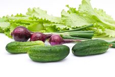 Green Cucumbers With Onion Stock Photo