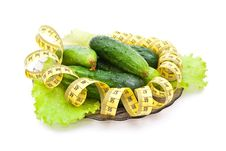 Free Cucumbers With A Measuring Tape Royalty Free Stock Photos - 15190308
