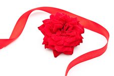 Free Red Rose With Red Ribbon Royalty Free Stock Photography - 15190357