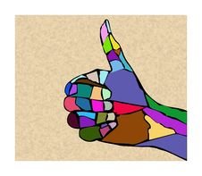 Free Hand From Splinters Of Multicolored Stones Royalty Free Stock Images - 15191299