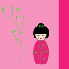 Free Japanese Geisha Kokeshi Dolls Card Stock Images - 15191714