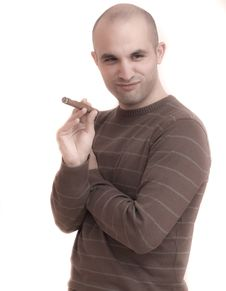 Free Man Smoking A Cigar Stock Photo - 15191900