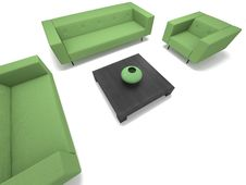 Free Green Sofa And Chairs Royalty Free Stock Photography - 15192837