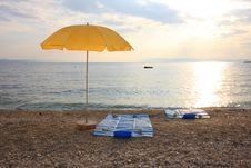 Yellow Beach Umbrella Royalty Free Stock Photo