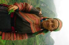 Grandmother Hmong Flowered Stock Photo