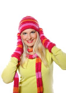 Free Pretty Funny Woman In Hat And Gloves Stock Images - 15194084