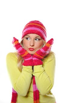 Free Pretty Funny Woman In Hat And Gloves Stock Photo - 15194090