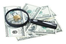 Free Money U.S. Dollars, Magnifying Glass And Lock Royalty Free Stock Photography - 15194117