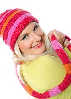 Free Pretty Funny Woman In Hat And Gloves Stock Images - 15194124