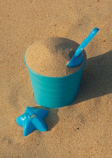 Free Blue Plastic Toys On The Sandy Beach Stock Photography - 15194172