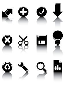 Black And White Icons Set 2 Stock Photo