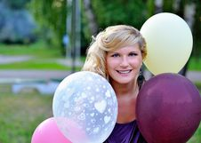 Free Beautiful Woman With Baloons Outdoors Stock Photos - 15194263