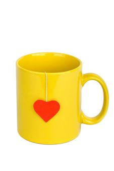 Free Tea Bag With Heart-shaped Label In Cup Royalty Free Stock Photography - 15196007