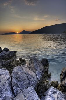 Sunset Landscape At The Beach In Montenegro Stock Images