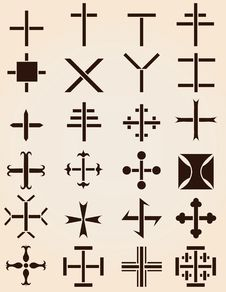 Free Set Of Different Crosses Stencils Royalty Free Stock Images - 15197599
