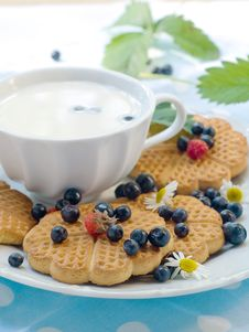 Cookies With Berries And Cup Of Milk Stock Photos