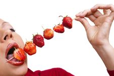 Free Woman`s Mouth  With Red Strawberries Royalty Free Stock Photo - 15199035