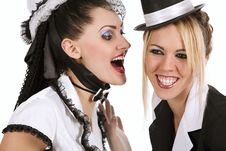 Free Cabaret Girls Whispering A Good News Royalty Free Stock Photography - 15199297