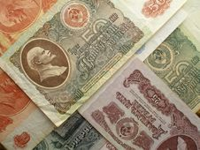 Old Soviet Bank Notes Royalty Free Stock Photos