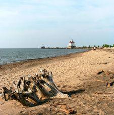 Lighthouse On Headlands Beach Stock Photos