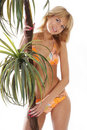 Free A Blond Girl In An Orange Swimsuit Holding A Palm Royalty Free Stock Photo - 15201795