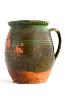 Old Green Clay Jar Royalty Free Stock Images