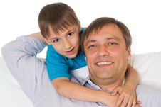 Free Father And Son On A White Stock Photography - 15200602