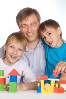 Happy Father With Children Playing Stock Images