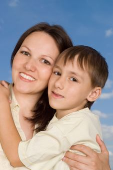 Happy Woman Woman  With  Son Royalty Free Stock Photography